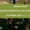 AG de l'Afac-Agroforesteries : le 24 avril 2020 - par conférence en ligne