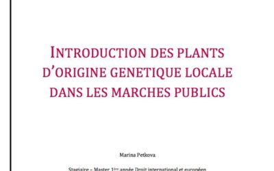 Guide juridique pour l'utilisation des plants certifiés «Végétal local»