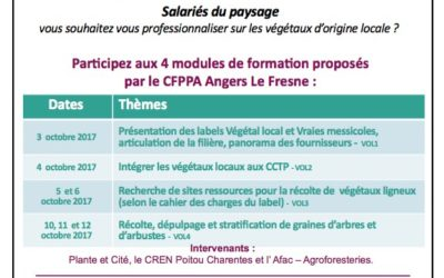 Journées de formation sur les végétaux labellisés «Végétal local» – par le CFPPA Angers le Fresne