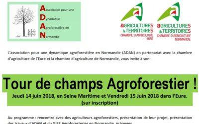 Tour de champs agroforestier, en Normandie les 14 et 15 juin 2018